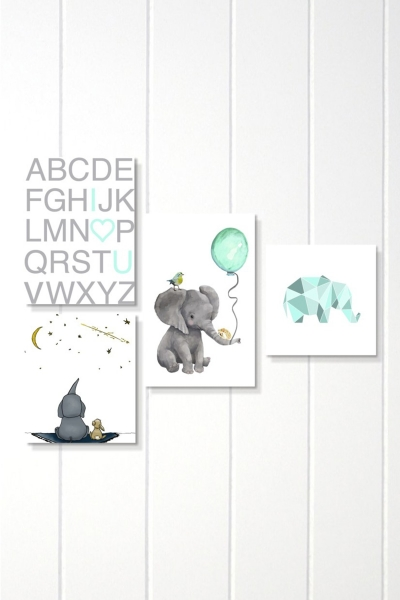 MDF Pictures - Set of 4 Blue Elefant